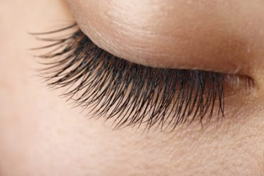 Closeup view of beautiful  asian girl eyelash